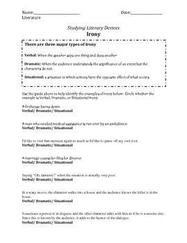 Irony Worksheet Teaching Resources | Teachers Pay Teachers