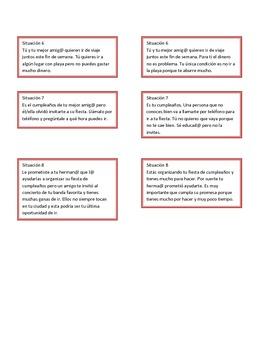 Situations for role play (Spanish) Situaciones para juegos de rol (Español)