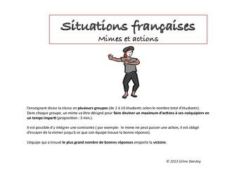 Situations françaises : Jeu de mime des actions