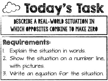 Situations that Equal Zero Task - 7.NS.A.1