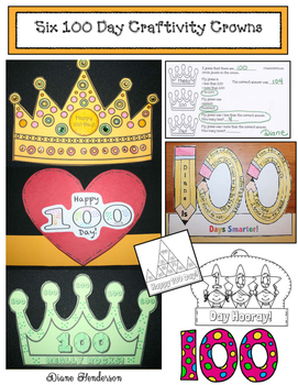 Six 100 Day Craftivity Crowns