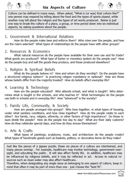 Six Aspects of Culture worksheet packet