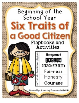 Six Character Traits of Good Citizenship - Interactive Notebook Pages