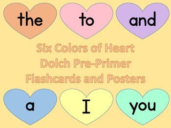 Six Colors Heart Dolch Pre-Primer Sight Word Posters and Cards