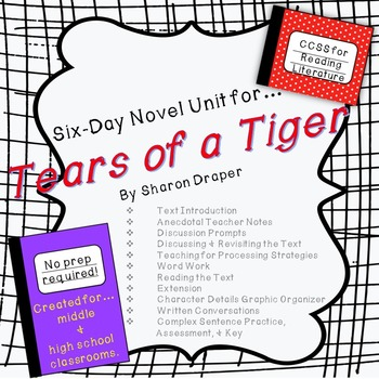 Six-Day Novel Unit for...Tears of a Tiger by Sharon Draper