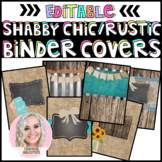 Six Editable Shabby Chic Rustic Binder Covers with Matchin