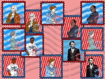Six Famous Americans - Set One - Stamps {for personal and commercial use}
