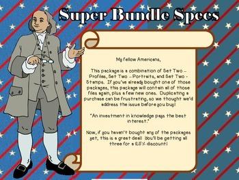 Six Famous Americans - Set Two - Super Bundle Profiles, Portraits, Stamps