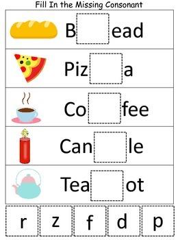 Six Fill in the Missing Consonant preschool educational spelling games.