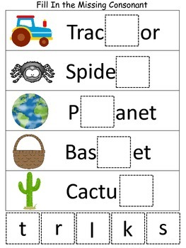 Six Fill in the Missing Consonant preschool educational spelling games.