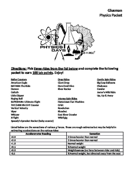 Six Flags: Field Trip Packet for Physics