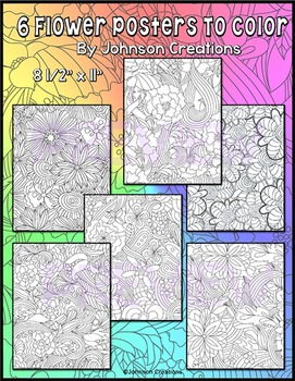 Six Flower Posters to Color