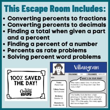 Sixth Grade Percent Escape Room Activity for Ratios & Proportional Relationships