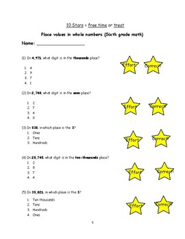 Six Grade: Place values in whole numbers