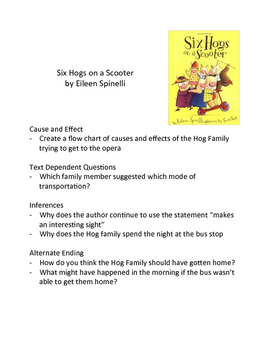 Six Hogs on a Scooter by Eileen Spinelli - Literary Skills w/ Picture Books