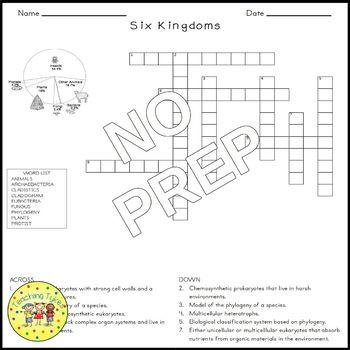 Six Kingdoms of Life Biology Science Crossword Coloring Worksheet Middle School