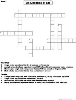 Six Kingdoms of Life Worksheet/ Crossword Puzzle