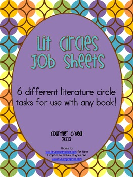 Six Literature Circle Job Sheets for Upper Elementary