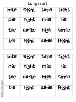 Six Long Vowel Sorts - a,e,i,o,u and y!