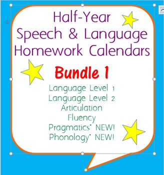 Six-Month Speech Homework Calendar Bundle 1