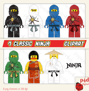 Six Ninjas -  - Set of 8 Clipart - PNG files