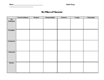 Six Pillars WorkSheet