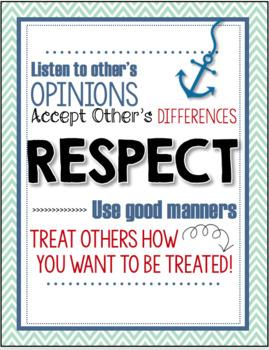 Six Pillars of Character Posters - Nautical Theme