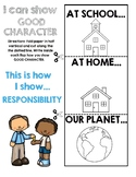 Six Pillars of Character RESPONSIBILITY Flapbook Activity