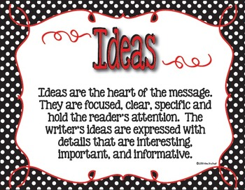 Six Plus One Writing Trait Posters in Black and White Polka Dot with Red Accents