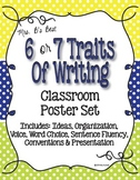 Six Plus One Writing Trait Posters in Blue, Lime and Lemon