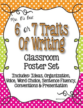 Six Plus One Writing Trait Posters in Tangerine, Lime and Hot Pink