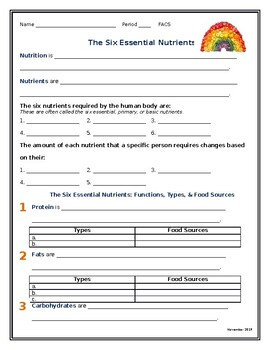 Six Primary Nutrients- Nutrition Guided Notes Sheet [Corre