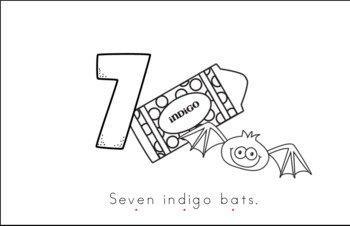 Seven Indigo Bats Early Emergent Reader (Around) - Black & White Version