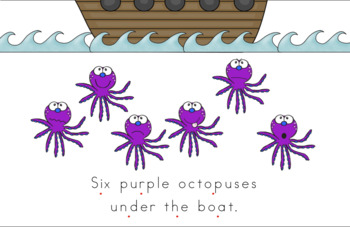 Six Purple Octopuses Early Emergent Reader (Over & Under) - BUNDLE