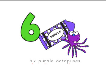 Six Purple Octopuses Early Emergent Reader (Over and Under) - Full Color Version