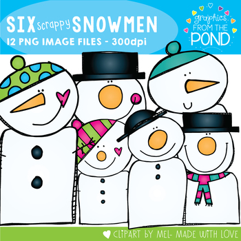 Six Scrappy Snowmen Clipart Set