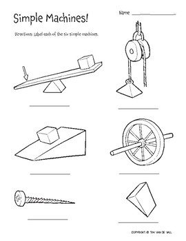 Six Simple Machines - 3 Printable Worksheets by Tim's Printables