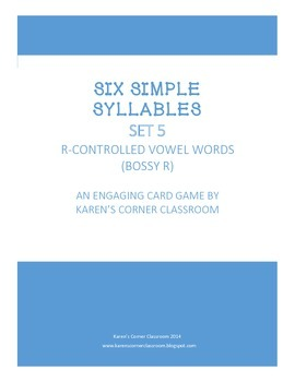 Six Simple Syllables - Bossy R Card Game