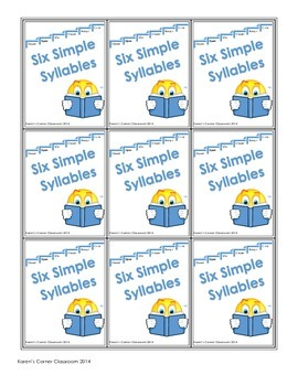 Six Simple Syllables - Open Syllables Card Game