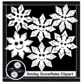 Six Smiley Snowflakes Clipart - Winter Weather