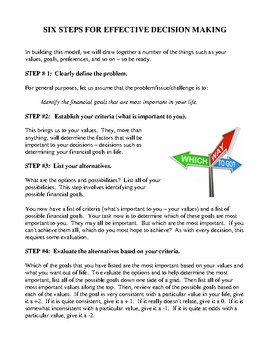 Six-Step Decision-Making Model, Activity and Handouts
