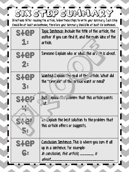 Six Step Summary of an Article