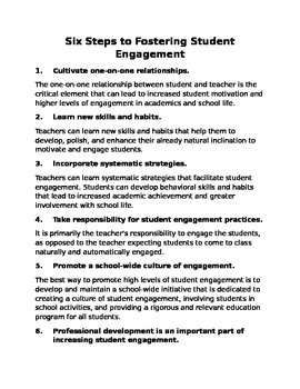 Six Steps to Fostering Student Engagement