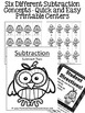 Subtraction Fall Math Quick and Easy to Prep Math Center Printables Games
