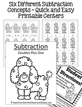Subtraction Quick and Easy to Prep Math Center Games and Printables