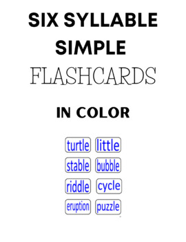 Six Syllables Flashcards