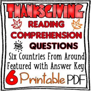 Six Thanksgiving Around the World Reading Comprehension and Questions PRINTABLE