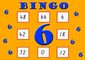 Six Times Table Bingo - Class Set (30)