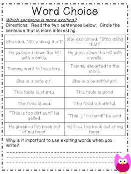 Six Trait Writing Activities