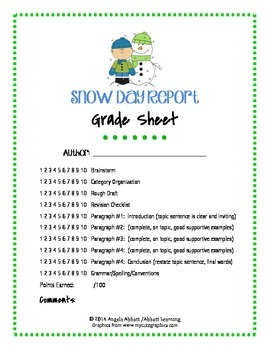"""Six Trait Writing:  """"Snow Day"""" Report Guide with Brainstorm and Rubric"""